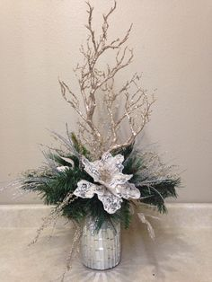 Custom made for reception facility , Custom made for reception facility. , Custom made for reception facility , Custom made for reception facility. Christmas Flower Arrangements, Holiday Centerpieces, Outdoor Christmas Decorations, Floral Arrangements, Silver Christmas, Noel Christmas, Christmas Wreaths, Christmas Crafts, Christmas Ornaments