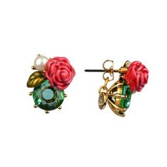 Post earrings eclantante discretion green and rose