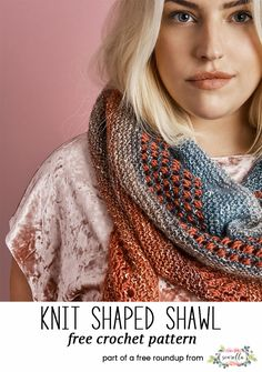 Knit this shaped shawl wrap scarf from my Warm Winter Knits free pattern roundup!