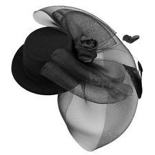 Goth Punk Black Net Bow Mini Top  Hat Feather Hair Clip for Horse Racing Party