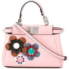 Fendi micro 'Peekaboo' crossbody bag (35.255.880 VND) ❤ liked on Polyvore featuring bags, handbags, shoulder bags, leather handbags, pink purse, leather cross body purse, leather purse and leather crossbody purse