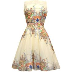 Mayan Princess Chiffon Tea Dress ($57) ❤ liked on Polyvore featuring dresses, short dress, chiffon dresses, flared skirt, vintage circle skirt, vintage dresses and circle skirt