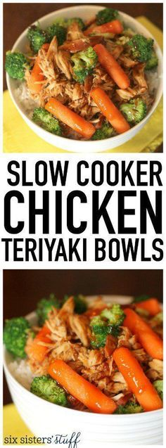 Slow Cooker Chicken Teriyaki Bowls from SixSistersStuff.com. These are healthy, easy, kid-approved and so delicious!