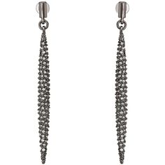 French Connection Pave Dagger Linear Earrings (Hematite/Clear Stone)... ($30) ❤ liked on Polyvore featuring jewelry, earrings, gold, pave earrings, french connection, hematite earrings, linear earrings and glitter earrings