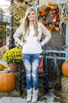Shine On Ivory And Gold Sequin Sleeved Top - Forever Fab Boutique Fall Fashion #boutique #ootd #fallfashion