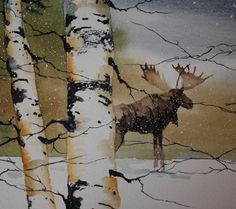 Water color painting of a moose in the forest by tomsoucek on Etsy