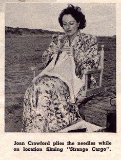 Joan Crawford knitting