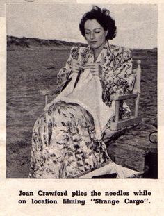 Joan Crawford on the set of Strange Cargo
