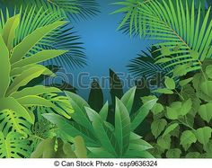EPS Vector of Tropical Forest Background - Vector Illustration Of ...
