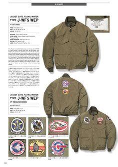 1993年にスタートし、20年以上にわたりヴィンテージミリタリーウェアの魅力を忠実に再現し続けているブランド、BUZZ RICKSON'S(バズリクソンズ)の公式カタログページ Navy Jacket, Bomber Jacket, Buzz Rickson's, Jacket Pattern, Workwear, Flyers, Military Jacket, Men's Fashion, Fall Winter