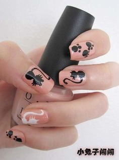 nail art :black cat and white cat by Conciry ♥ ♥ ♥ #nails #cat #nailart #manicure