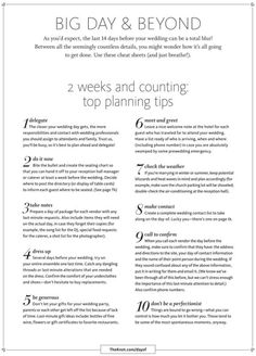 Planning tips in the crunch time (2 weeks) leading up to the wedding.