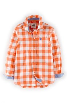 Mini Boden Woven Gingham Shirt (Toddler Boys, Little Boys & Big Boys) available at #Nordstrom Hmmm... Long sleeve... But they have orange & blue in both boys sizes