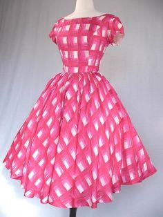 50's Silk Dress Vintage Sir James Eames Era Print Pink Cocktail Full Skirt Party Dresses