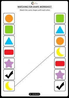 matching shapes early math worksheets preschool preschoolers pre nursery age 30 to 36 months Shape Worksheets For Preschool, Nursery Worksheets, Shapes Worksheet Kindergarten, Nursery Activities, Shapes Worksheets, Toddler Learning Activities, Cognitive Activities, Preschool Math, Preschool Colors