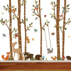 Birch Tree Deer Wall Decal with Forest by wallartdesign on Etsy, $145.00
