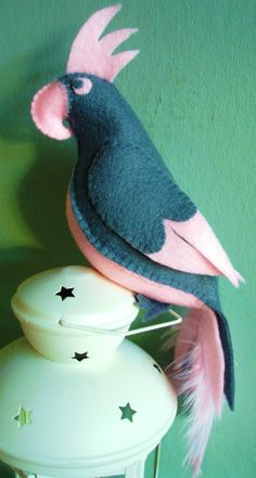 Make your own Grey Felt Parrot Kit. Bird Sewing Kit. on Etsy, $15.37