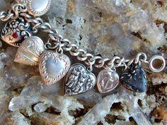 Sterling Silver Puffy Heart Charm Bracelet 15 by postGingerbread