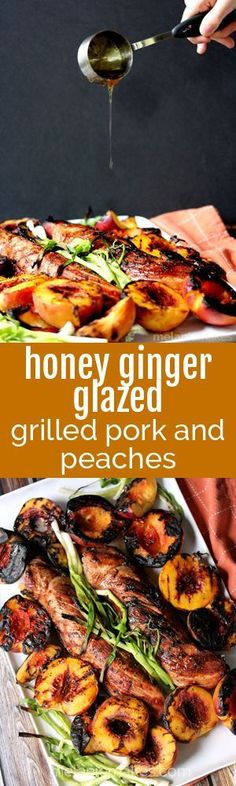 A sticky, sweet honey glaze spiked with fresh ginger is drizzled over perfectly grilled pork tenderloin and charred green onions and peaches. Just because Summer is nearing an end doesn't mean grilling season is over. This Honey Ginger Glazed Grilled Pork Tenderloin and Peaches recipe is proof positive!