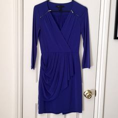 Royal Blue BCBG dress Gorgeous hue, zipper detail and draped skirt dress. Very light wear. Over the knee length, 3/4 sleeves. This is an XS and fits sizes 0-2 BCBG Dresses Midi