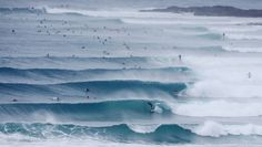 Surfers ride waves at Snapper Rocks on February 20. Photo:Getty Images #queensland #surfing