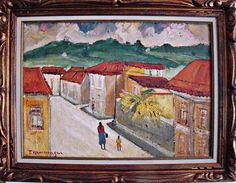 """T. Kaminagai- """"Vilarejo"""", óleo sobre tela, medindo 50cm x 70cm, assinado no C.I.E e verso da"""