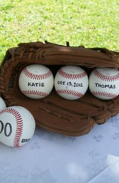 "Glove and Ball Decoration, Baseball Themed Wedding Similar to other one, but with ""I Do"" Balls"