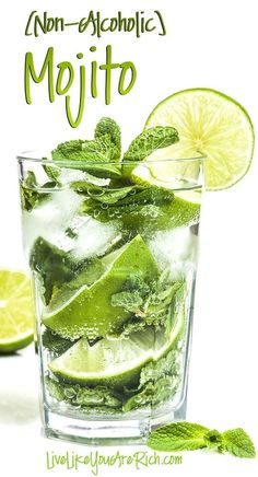Non-Alcoholic Mojito Recipe. A virgin Mojito is a wonderful mixture of lime and mint—bubbling with sweetness. Just because I don't drink alcohol doesn't mean I miss out on amazing tasting beverages. I love non-alcoholic Mojitos. A virgin Mojito is a won Juice Drinks, Cocktail Drinks, Fun Drinks, Healthy Drinks, Diet Drinks, Drinks Alcohol, Healthy Nutrition, Healthy Recipes, Alcohol Recipes