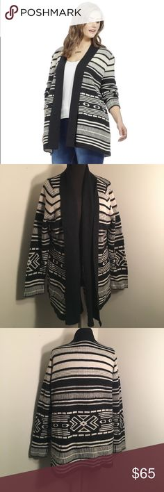 {NEW} BB DAKOTA Tribal Print Open Front Cardigan Black and White winter cardigan with shawl collar and long sleeves, stretch-knit fabric, relaxed fit, allover stripes.  ▪REASONABLE OFFERS WELCOMED or BUNDLE FOR A SPECIAL DISCOUNT ▪️ BB Dakota Sweaters Cardigans