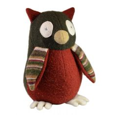 Be as wise as our Owl from Cate and Levi. Eco friendly stuffed animals made in Canada from recycled sweaters. Toy Barn, Handmade Stuffed Animals, Owl Pet, Recycled Sweaters, Farm Toys, Owl Bird, Hand Puppets, Dinosaur Stuffed Animal, Stuffed Owl