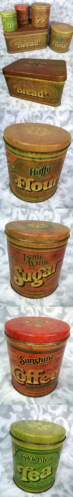 Sold Vintage 1977 Ballonoff Tin Canister Set Fluffy Flour, Brite White Sugar, Sunshine Coffee, Golden Leaf Tea and Wheat Heart Bread