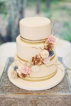 Ditch the flowers, but I love the gold stripes. Chevron print in gold would be great!