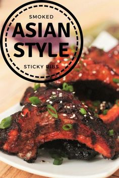 Smoked Asian Style Sticky Ribs is the perfect combination of Asian flavors and traditional American style BBQ technique. Warm aromatic spices pair beautifully with wood smoke to create these sweet and tangy sticky ribs. Grilled Steak Recipes, Grilled Pork, Grilling Recipes, Cooking Recipes, Smoker Recipes, Grilling Ideas, Traeger Recipes, Cooking Pork, Bbq Pork