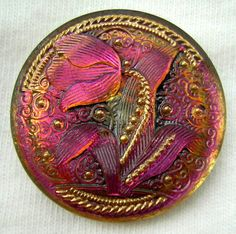 Hey, I found this really awesome Etsy listing at https://www.etsy.com/listing/189196511/lg-czech-glass-button-pink-violet-mirror