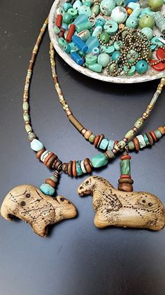 Animal Artifact necklaces by Luann Udell polymer clay ~  x
