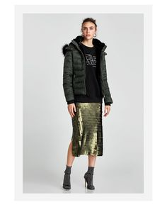 Women's New In Clothes Slit Skirt, Lace Skirt, Sequin Skirt, Diy Fashion, Fashion Online, Zara, Quilted Jacket, Outerwear Women, New Outfits
