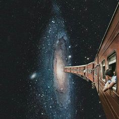 Where are we going? what where when why how universe marvel mystery space train unknown explore imagine imagination dreams go now tomorrowland death life heaven blackhole beyond art Surreal Collage, Surreal Art, Collage Art, Photomontage, Plakat Design, Retro Futurism, Psychedelic Art, Grafik Design, Aesthetic Art