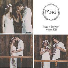 Remerciement mariage couronne fleurie