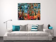 Contemplative colorfield painting with lots of color blending, contrast and fine details. Textured with many layers of plaster to prime the canvas then applied acrylic paint with spatulas and palat...