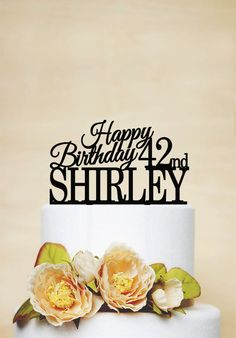 Birthday Cake Topper With Age And Last NameHappy Birthday DecorationCustom Cake TopperPersonalized Cake TopperWedding Decoration - A030