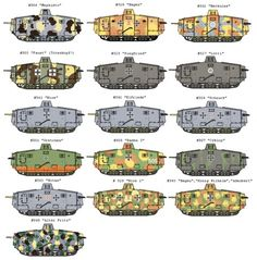 Sturmpanzerwagen A7V individual liveries and camouflages by vehicle