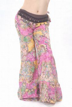 Dance Costumes Floral Print Indian Belly Dance Loose Wild Leg Pants (ORANGE) | Sammydress.com