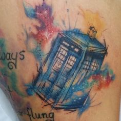Little tardis from today, tardis is slightly distorted due to some serious swelling thanks Abbi it was a pleasure to tattoo you and it was worth almost getting locked in the Dundas Arcade and scary noises safe travels x #whovian #tardis #tardistattoo #drwhotattoo #drwho #bbc #stevenmoffat #universe #universe #space #spacetattoo #spaceprint #galaxytattoo #thightattoo #middlesbrough #sketchytattoo #sketch #illustration #watercolor #watercolourtattoo #watercolor