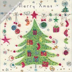 Postkarte mit einer Weihnachtskette. An diese Leine wurden viele…