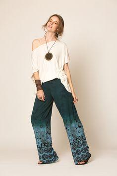 calça pantalona / calça tecido / calça feminina / calça estampada / boho chic