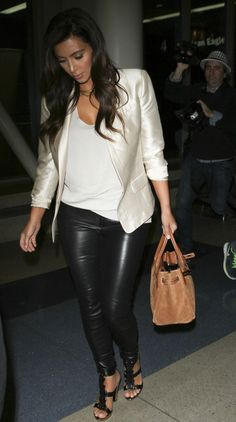 Kim Kardashian was spotted arriving at the Los Angeles International Airport from New York.