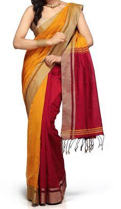 Dark red and yellow Combination Cotton Silk Bengal Handloom Saree