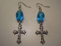 Flower Cross Dangle Earrings Handmade with Blue by PiccoloPattys