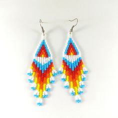 Beaded Earrings Patterns, Tribal Earrings, Seed Bead Earrings, Fringe Earrings, Etsy Earrings, Beaded Jewelry, Crochet Earrings, Orange Yellow, Pink White