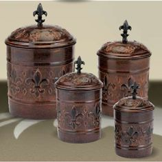 KITCHEN CANISTERS | Antique Copper Fleur de Lis Kitchen Canister Set New | eBay